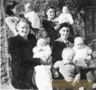 Back row on right Mrs I Wood and Janice. Front row on left Peggy Argo and child with Cameron Argo standing